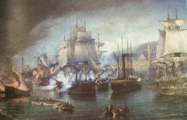 Η ναυμαχία του Βόλου, πίνακας του Ιωάννη Πούλακα (βρίσκεται στο δημαρχείο του Βόλου)