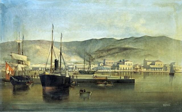 Το λιμάνι του Βόλου - Ιωάννης Πούλακας The port of Volos - painting of Ioannis Poulakas (~1900)