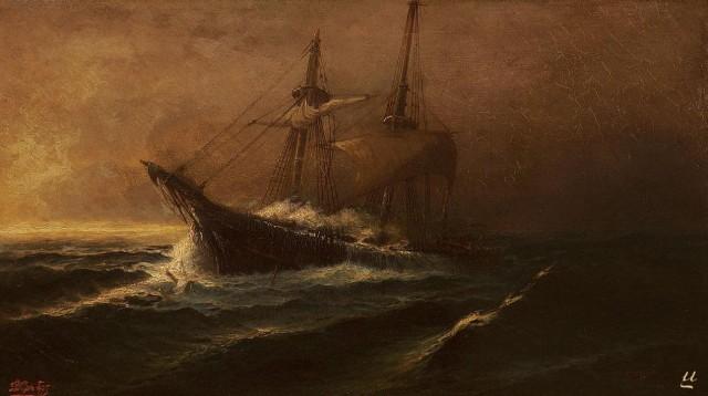Bonhams Auctioneers   Ioannis Poulakas (Greek 1864-1942) Vessel in choppy seas 33 x 58 cm. (13 x 22 3 4 in.)-ed