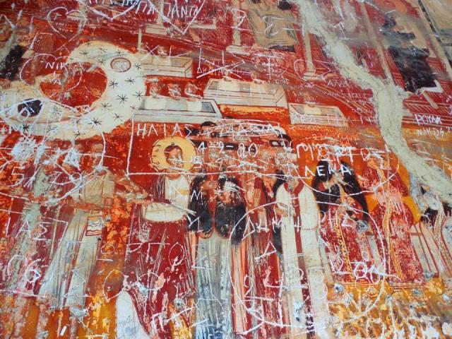 Αγιόγραφίες στη Παναγία του λόφου της Επισκοπής λίγο πάνω από τον Βόλο. Φωτογραφία Νικολάου Φιλάρετου
